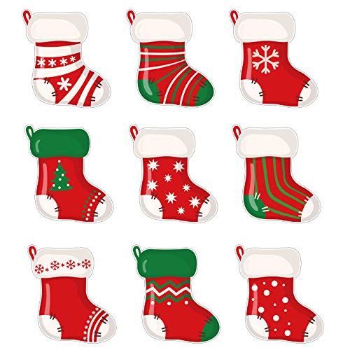 Whaline Christmas Mini Colorful Cut-Outs 45Pcs Assorted Xmas Stocking Cut-Outs 9 Designs Name Tag Reward Cards Holiday Classroom Decoration for Kids Bulletin Border Office Party Favor Supplies
