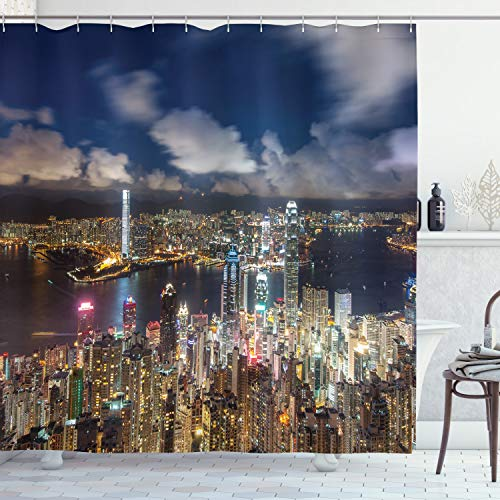 """Ambesonne Cityscape Shower Curtain, Night View Hong Kong Victoria Harbor Business Financial District Cityscape Print, Cloth Fabric Bathroom Decor Set with Hooks, 75"""" Long, White Navy"""