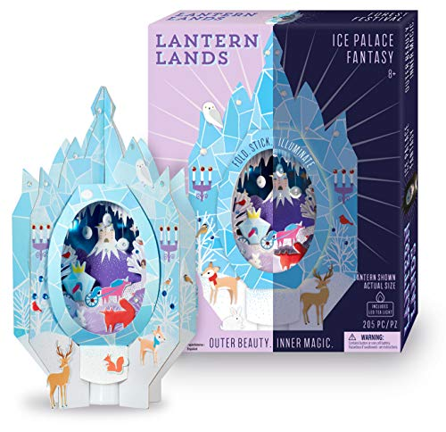 Bright Stripes DIY Lantern Lands Ice palace fantasy 3D Paper Lantern Craft Kit - Magical Craft Kit for Kids Creates a 3D Paper Lantern with LED Tea Light - Fun Kids Activity can be used as Night Light