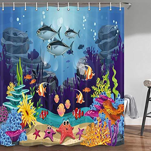 Blue Ocean - Cortina de ducha con diseño de peces tropicales de coral submarino con estrellas de mar y ganchos para cortina de ducha de tela incluidos, 70 pulgadas