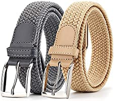 2 Pack Elastic Braided Woven Canvas Belts for Men and Women