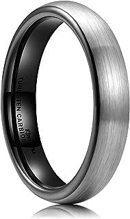 Basic Men's Black Domed Brushed Tungsten Carbide Ring Wedding Band 2mm/4mm/6mm/8mm