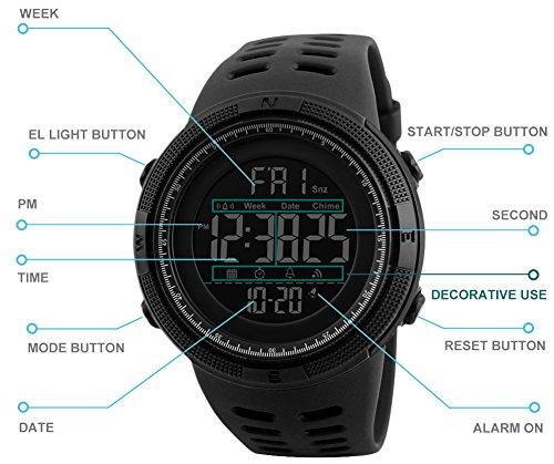 Herren Digital Sport Uhren – Outdoor wasserdichte Armbanduhr mit Wecker Chronograph und Countdown Uhr, LED Licht Gummi Schwarz große Anzeige Digitaluhrenfür Herren - 4