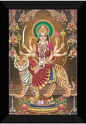 SAF 'Nav Durga UV Textured Framed Painting 14 inch X 20 inch SANFM157