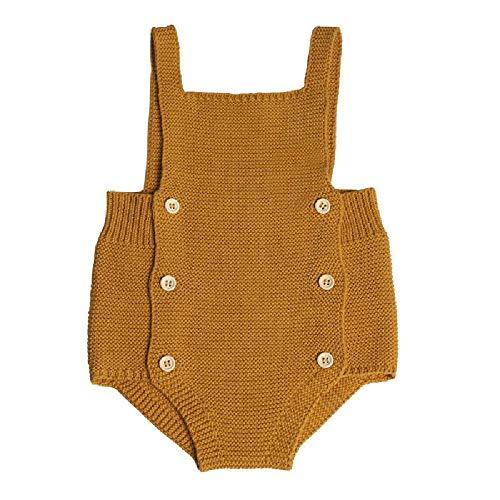 Suéter de algodón puro para niños y niñas con espalda corta, tejido de punto Amarillo amarillo 70 cm (0/6 cm)