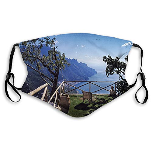 Mediterranean Scenic View Mountain Cliffs Sea Coast Travel Reusable Face Mask Balaclava Washable Outdoor Nose Mouth Cover for Men and Women