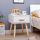 Yagor Table de nuit avec tiroir, table de chevet blanche moderne avec pieds en bois massif, style scandinave End Table Storage Cabinet pour chambre à coucher, salon