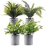Planta verde artificial en macetas grises 4 unidades, pequeñas plantas decorativas de plástico sintético, ideal para el hogar, oficina, baño, cocina y decoración al aire libre