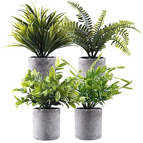 Planta verde artificial en macetas grises 4 unidades, pequeñas plantas decorativas de plástico sintético, ideal para el hogar, oficina, baño, cocina y decoración al aire libre 🔥