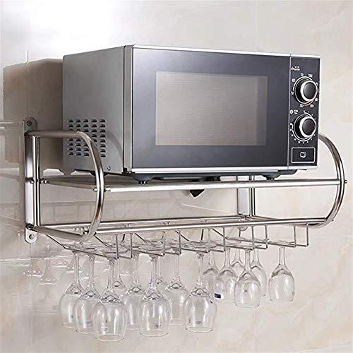 Edelstahl-Wein-Halter/Becher Aufhänger/Anhänger/Küchenregal/Mikrowelle Regalwand (Größe: 54 * 40 * 31cm) Mikrowellen-Rost (Size : XXL)