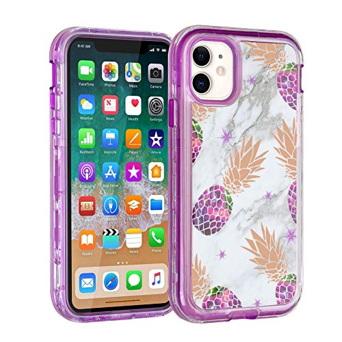 """Co-Goldguard Case for iPhone 11 Case Heavy Duty Protective 3 in 1 Case Durable Cover Hybrid Shockproof Drop Proof Designed Shell Sturdy Phone Cases for Apple iPhone 11 6.1"""",Pineapple Purple"""