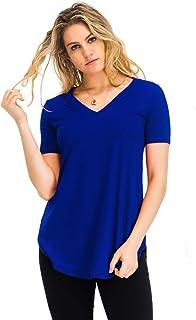 NANAVA Women's Relaxed Fit Premium Short Sleeve V-Neck Round Hem Top Shirts