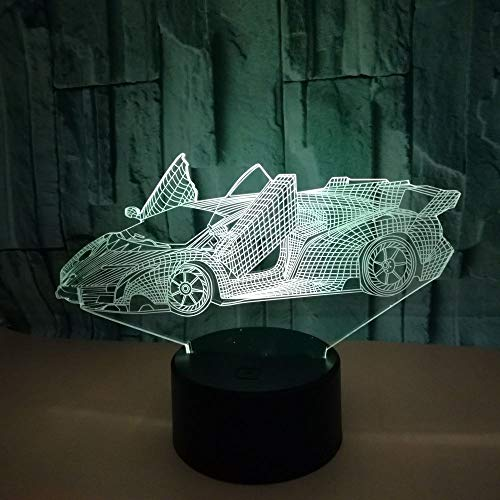 HGKDFT 3D-Nachtlicht-Auto-optische Illusion Lampe Hauptdekor Bunte Gradient-Noten-Kunst-Skulptur Lampe Kinder Urlaub Geschenke (Size : Sports car1)