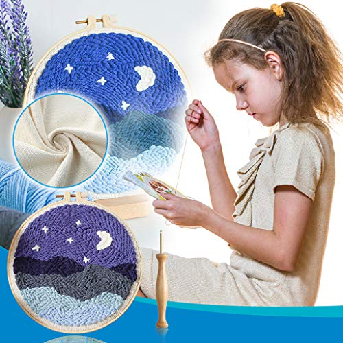 DIY Rug Hooking Kit Handcraft Woolen Embroidery Knitting with Punch Needle Colorful Yarn, DIY Landscape Latch Hook Kits for Kids Beginner (A1)