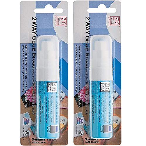 Kuretake ZIG 2 Way Glue Pen, 15mm Broad Tip, 2 pcs Set, AP-Certified, Adhesive for Kids, Artists, Crafters, Family, No Mess, Photo-Safe, Acid Free, Odourless, Xylene Freeing, Made in Japan