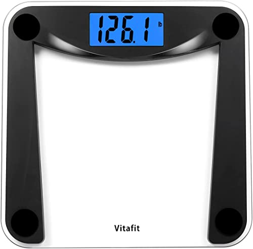 Vitafit Digital Body Weight Bathroom Scale with Step-On Technology,Weighing Scale with Extra Large Blue Backlit Displ...