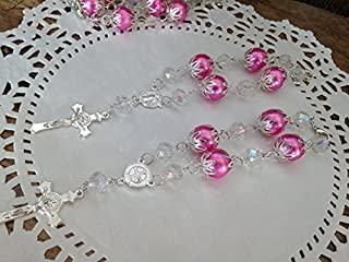 12 Pc Baptism Favors Crystal and Pearls Pink Silver Plated/ Communion Favors Recuerditos De Bautismo/ Christening Favors/ Decenarios/ Decades/ Finger Rosaries by San Joaquin Creations