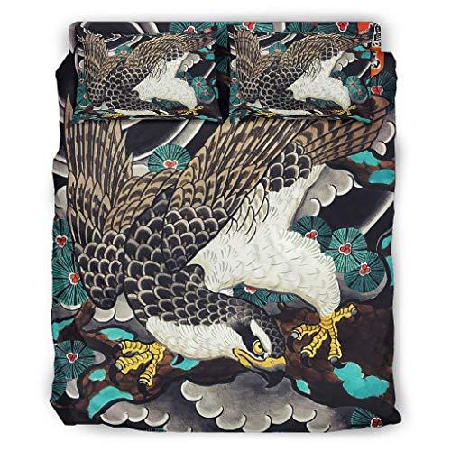 Wandlovers 4 Stück Bettbezug Set Japanisch Kiefern Druck Superweich Bettdecken Set Bettbezug Flachbetttuch Kissenbezug Komfortgröße White 175x218cm