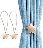 YunNasi Abrazaderas magnéticas de metal para cortina con imán para decoración en el hogar, oficina, paquete de 2 (estrella, oro)