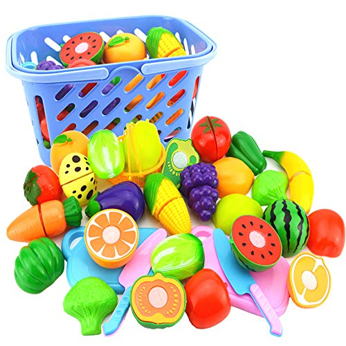 Oulensy 23pcs / Set di Taglio Frutta e Verdura Giocattoli Finta Play Bambini Cucina Giocattoli di plastica Miniatura Alimentari per i Regali per Bambini Dolls
