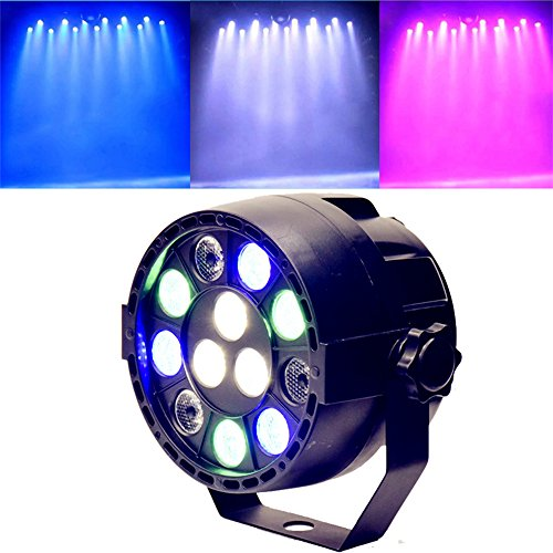 LED Stage strobe light, 12 LED RGBW Par spotlight, sound control DMX control, For DJ Christmas party performance club discotheque (Black,Without Remote)
