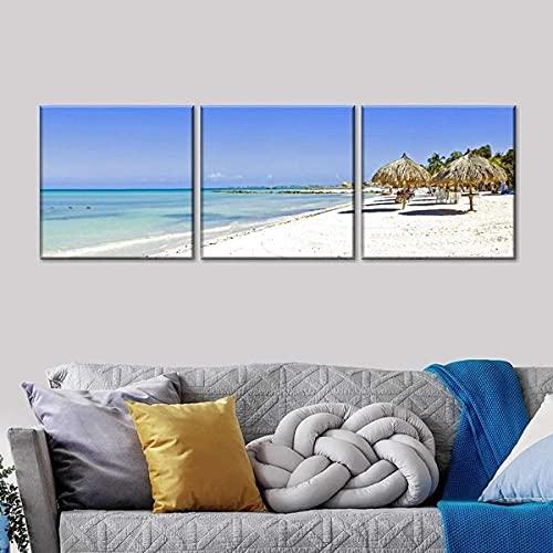 Gyybfhn Impresión HD Lienzo De Pintura Moderno HD Modular 3 Piezas Impreso Pintura Sala De Estar Decoración del Hogar Póster Cuadro Lienzo Regalo Creativo 50Cmx70Cmx3(Marco) Majestuoso Palm Beach