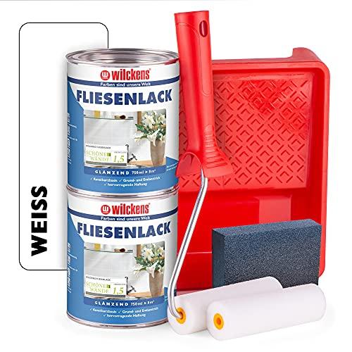 Wilckens Fliesenlack weiß glänzend - 2 Dosen Fliesenfarbe weiß 750ml im Set mit Malerbügel inkl. 2 Lackwalzen, Farbwanne & Schleifschwamm zum Fliesen streichen für ca. 16qm
