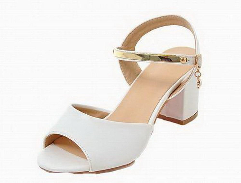 AmoonyFashion Women's Open-Toe Pu Kitten-Heels Buckle Solid Sandals