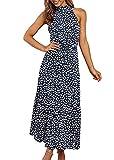 PRETTYGARDEN Women's Casual Halter Neck Sleeveless Floral Long Maxi Dress...