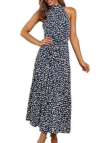 PRETTYGARDEN Women's Casual Halter Neck Sleeveless Floral Long Maxi Dress Backless Loose Ru…