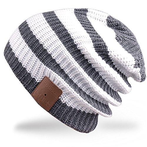 Rotibox Beanie Bluetooth, Cappellino Trendy Knit con Auricolare Bluetooth Headphone Auricolare Audio Music Hands-Free Chiamata telefonica per Outdoor Sport Fitness Ginnastica Regalo di Natale