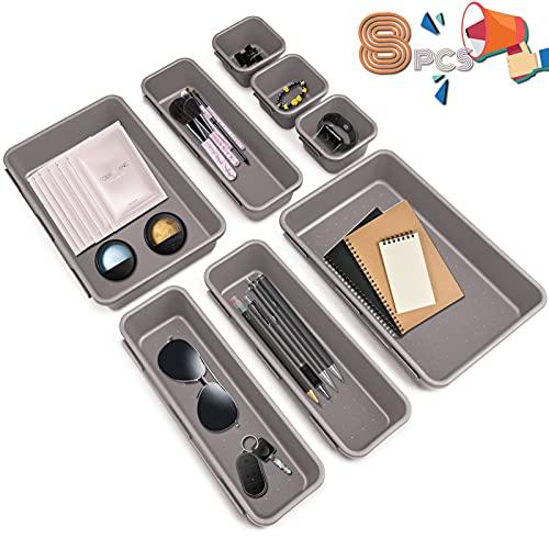 Organizador de Cajón Plástico,8 piezas Bandejas Organizadora de Cajones Escritorio Cajón Cajas Plásticas Orgaizador de cajonesn, para escritorio baño cocina (gris claro)
