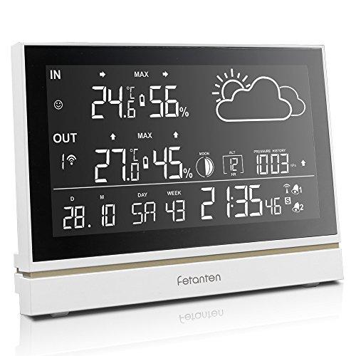 Funk Wetterstation Mit Unbekannt Außensensor DCF Empfangssignal, Innen und Außen Thermometer Hygrometer  7,5 Zoll Übergroß LCD-Display Wettervorhersage, Wecker Digital Funkuhr Temperaturalarm