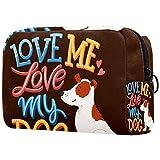 Neceser de Viaje para cosméticos para Mujer Bolsa de Maquillaje con Cierre de Cremallera portátil Diario,Ámame, ama a mi Perro