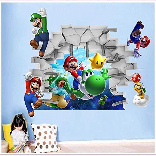 UVKLAEE Habitación Super Mario Bros Imagen de Pared Pegatina Vinilo removible Etiquetas del Arte de Nursery Decor Home Decor niños Paisaje