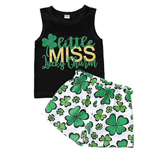 Moneycom❤Toddler Kids Baby Girls St.Patrick's Day Vest + Shorts Tenues d'été Vêtements Noir(2-3 Ans)