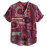 Men Linen Henley Shirts,2019 New Casual Short Sleeve Print Button Up Summer Tee Tops (XXXL, Red)