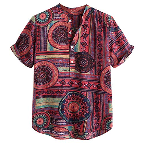 Amphia - Herren Leinen Hemden,Herren Baumwolle Leinen gedruckt Kurzarm Casual Henley Shirts Krawatte Sommer Tops