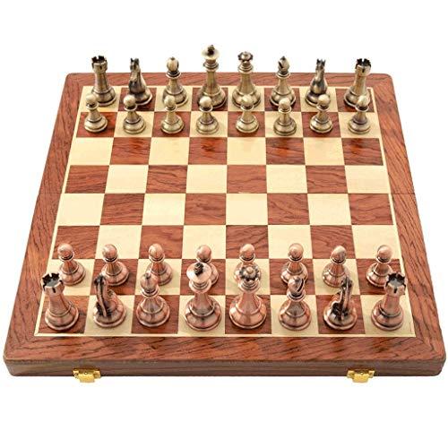 GLXLSBZ Juego de ajedrez de Metal para niños y Adultos con Tablero de Madera y Almacenamiento, Juego de ajedrez clásico (Juego de Rompecabezas)