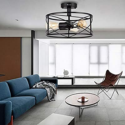 """TFCFL 15"""" Industrial Cage Flush Mount Ceiling Light 3-Light /4 Light Retro Close to Ceiling Light Rustic Ceiling Light Fixture for Home (3 Heads)"""