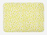 ABAKUHAUS Limones Tapete para Baño, Monótona garabatos de Frutas, Decorativo de Felpa Estampada con Dorso Antideslizante, 45 cm x 75 cm, Amarillo y Verde Lima