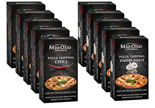 Mioolio Pizza Toppping I Gewürzöle portioniert I Bekannt aus die Höhle der Löwen I Auch zum Kochen, Braten uvm. geeignet I 50 x Chili + 50 x Knoblauch