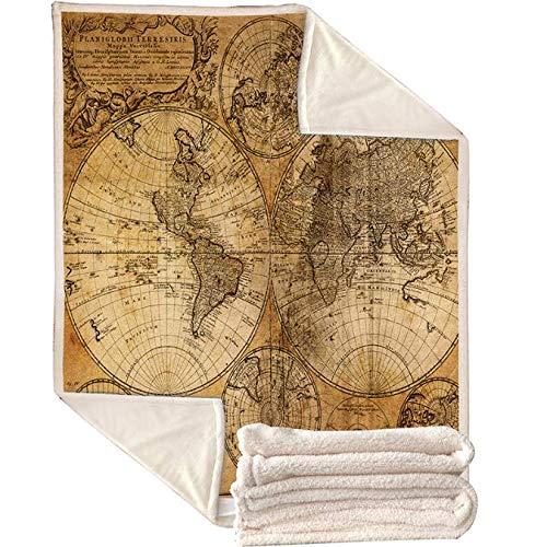 Sherpa World Kaart Print Deken Bank Reis Jeugd Beddengoed Outlet dikke deken sprei Decoratie Tapijten 150 * 200 cm