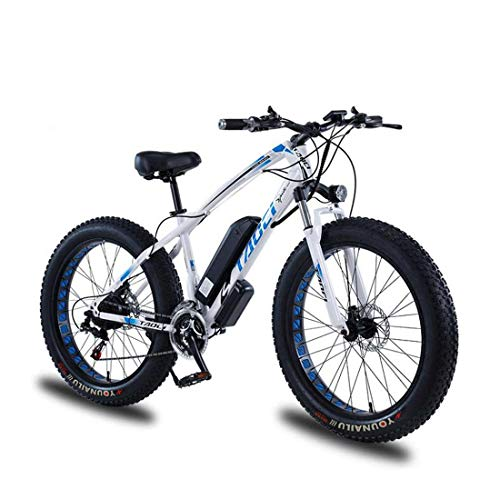 AISHFP Adult Electric Fat Tire Mountain Bike, 36V Lithium Battery Electric Snow Bicycle, with LCD Display/Anti-Theft Lock/Tool/Fender,A,10AH