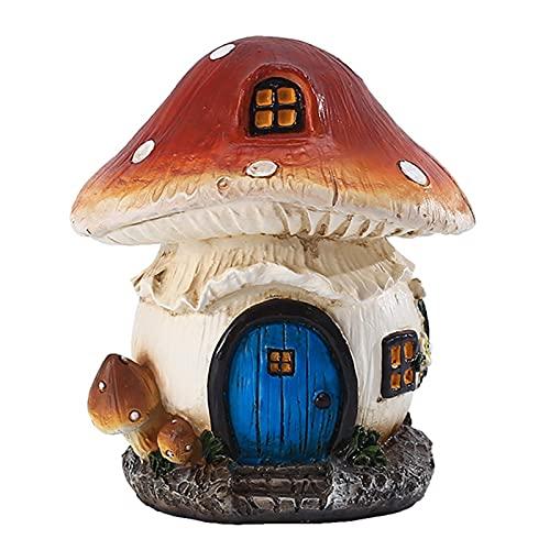 Casetta delle fate per giardino, casetta per funghi, resistente alle intemperie, in resina, statuette da giardino, per esterni, in miniatura di fata