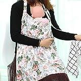 Cubierta de lactancia del bebé, ropa de lactancia de algodón Lactancia manta mantón transpirable Delantal Cubrir con bolsa a juego libre para la lactancia materna bebés(Flower)