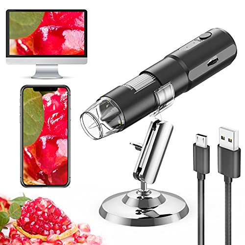 Microscopio digital WiFi, VITCOCO MINI Microscopio USB aumento 50X a 1000X, 1280P Endoscopio con 8 Luces LED regulables, para Android e iOS, Windows Mac