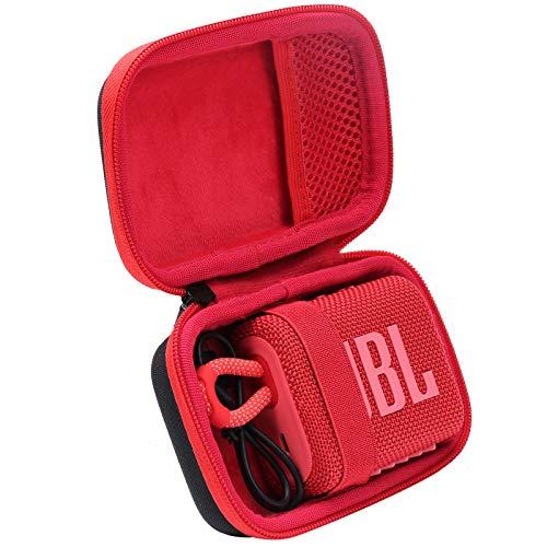 co2CREA Duro Viajar Caja Estuche Funda para JBL GO 3 Altavoz inalámbrico portátil con Bluetooth(Funda Solo) (Caja Negra+Interior Rojo)