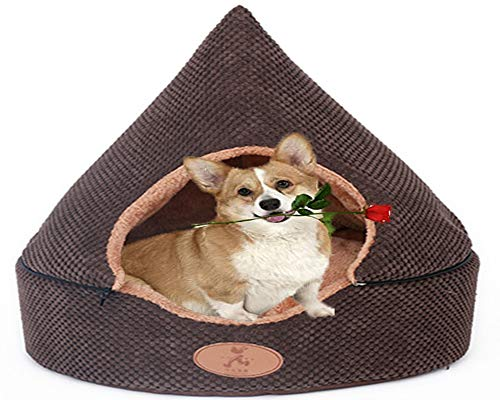 Medium Tent Dog Bed with Roof,Cosy Cat Cave Deluxe Calming Cuddler Heated Winter Warm Large Orthopedic Cuhsion Anti Anxiety Chew Wicker Plush Donut Sleep Basket