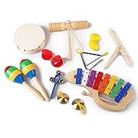 AMOTAIOS 幼児楽器セット 10種類 ドラム トライアングル シロフォン カスタネット マラカス ハンドベル シンバル ベル ブロックなど打楽器 音楽玩具 知育玩具 おもちゃ/キッズ/子供/ベビー/お子様 プレゼント 祝い 贈り ギフト